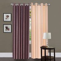 ILiv Cream & Brown Plain Bamboo Curtain ( Set Of 2 ) - 5Ft
