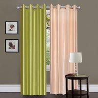 iLiv Green  & Cream Solid Plain Door Curtain  Set Of 2   7Ft
