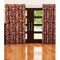 ILiv Brown Flower Curtain - 9Ft