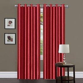 iLiv Maroon Plain Solid Window Curtain Set of 2 - 5ft