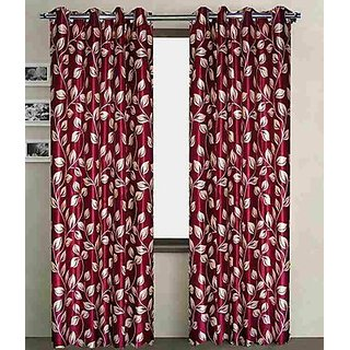 iLiv Dark Maroon Flower Curtain ( Set Of 2 ) - 9Ft
