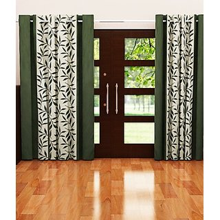 Iliv Green,White Polyester Door Eyelet Curtain Feet (Combo Of 2)