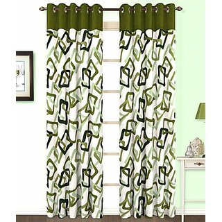 iLiv Green Square Curtain ( Set Of 2 ) - 5Ft