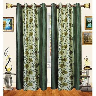 iLiv Designer Green Floral Curtains 5Ft - Set Of 2