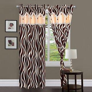 iLiv Brown Lehar Dl Curtain ( Set Of 2 ) - 9Ft