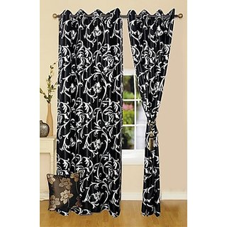 iLiv Polyester Multicolor Floral Eyelet Window Curtain(Set Of 2)