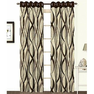 ILiv Brown Jute Curtain - 7Ft