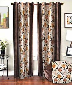 iLiv Multicolor Floral Eyelet Long Door Curtain