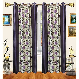 iLiv Purple Multicolor Polyester Floral Long Semi Transparent Door Curtain For Bed Room 9ft - (Set of 1)