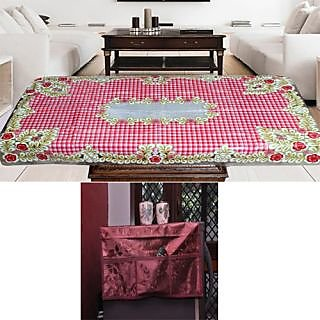 Luxmi combo of Decoravtive Multipurpose Fridge Top Cover and center table cover - Multicolor
