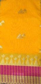 kota Saree Yellow Cotton Floral Saree With Blouse
