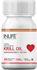 INLFIE Krill Oil Phospholipid Omega 3 with Astaxanthin 500mg - 30 Capsules