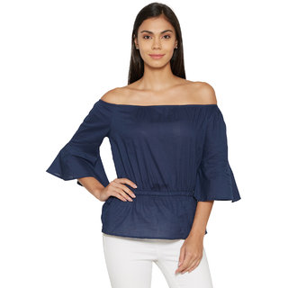 Bombay High Women Cotton Solid Off Shoulder 3/4 Sleeve woven Top