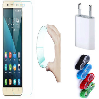 Huawei Honor 6X 0.3mm Curved Edge HD Flexible Tempered Glass with Nylon USB Travel Charger