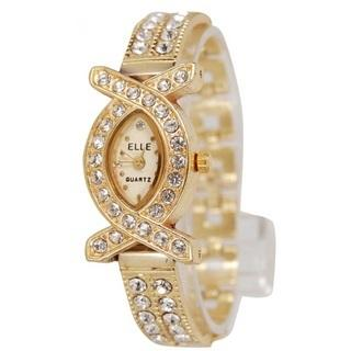 Elle Oval Dial Gold Metal Analog Watch For Women