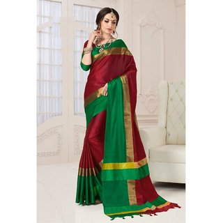 Indian Beauty Green Polycotton Badge Saree with blouse (COLORS AVAILABLE)