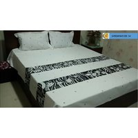 Cotton Hand Painted Double Bedsheet With Set Of Pillow Covers