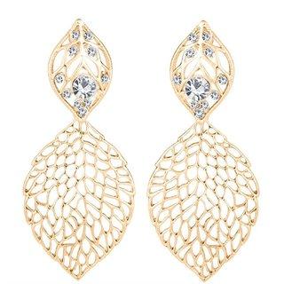 Om Jewells Fashion Jewellery Jhali Work Leaf Shape Dangle Earrings for Women and Girls ER1000043