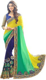 Meia Blue Yellow Georgette Embroidered Saree With Blouse