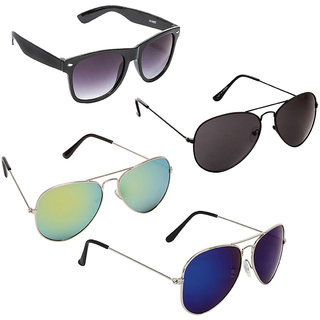 4858b524aac2 Buy Magjons Multi Colour Mirror Aviator And Black Wayfarer Sunglasses For  Men And Women Combo Of 4 With Free Box MJ4930 Online - Get 69% Off