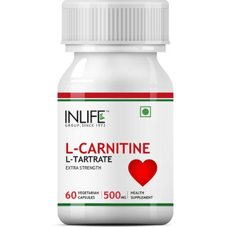 INLIFE L Carnitine L Tartarate, 500mg  60 Vegetarian Capsules