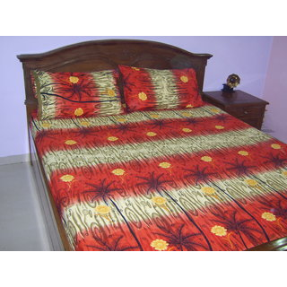 Looms Of India Green & Orange Bedsheet (BC-1145)
