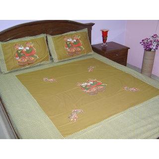 Looms Of India Green  Bedsheet (BC-3047)