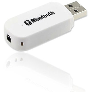 Combo of Portable Car Bluetooth kit (White) + Aux Cable