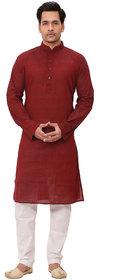 abc garments Men's Kurta and Pyjama Set maroon