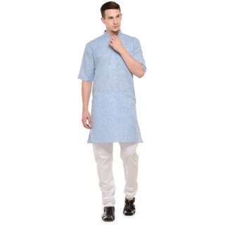 RG Designers 3/4 Sleeves Light Blue  White Modi Kurta  Pyjama Set For Men