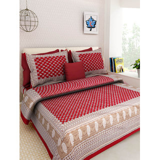 Jaipuri Print 100 Cotton Luxury Double Bed Sheet 90x108 Inch With 2 Pillow  Covers