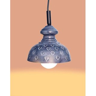 AH  Grey  color Heart Design Iron  Pendant Ceiling Hanging Lamp ( Pack of 1 )