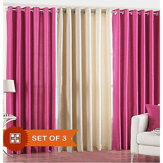 Iliv Plain Eyelet Door Curtain 7 Feet Set Of 3 2pink1cream