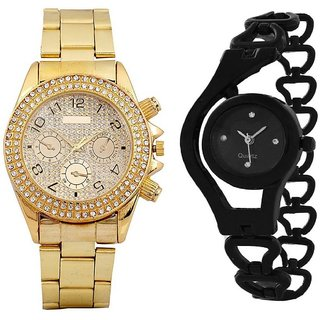 Star Colors BEST COUPLE COMBO OFFER GOLD  BLACK FANCY GIFT FOR SPECIAL Analog Watch - For Men  Women