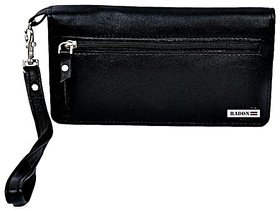 Radon Women Black Pure Leather wallet, Card Holder and mobile Keeper