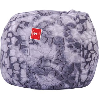 Admirable Buy Biggie Bean Bag Fabric White Grey Xl Size Filled With Caraccident5 Cool Chair Designs And Ideas Caraccident5Info