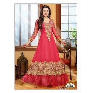 Gorgeous Karishma Kapoor Long Pink Anarkali Suit - 36000