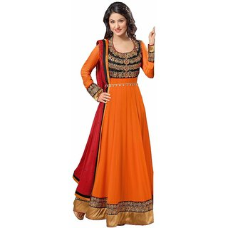 RapidDukan Semi Stitched  Orange Color Anarkali Suit SF13