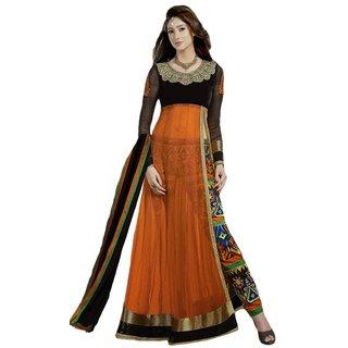 Attractive Orange  Black Net Embroidered Semi Stitched Regular Fit Salwar Suit