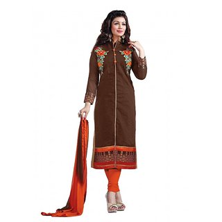 Khushali Presents Embroidered Chanderi Dress Material(Coffee,Orange)