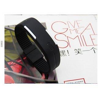 Jelly Slim Men Women Unisex Black LED Digital Casual Bracelet Band Led Watch
