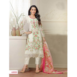 Thankar White And Multi Embroidered Faux Geirgette Straight Suit