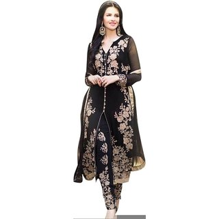 Cozer Georgette Embroidered Semi-stitched Salwar Suit Dupatta Material(Unstitched)