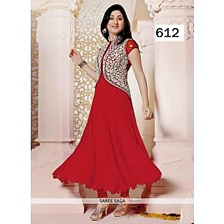 Pankhudi Red Embroidered Georgette Semi Stitched Salwar Suit
