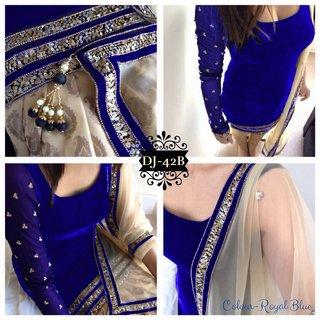 Free Shippingblue Color Velvet Patiyala Suit