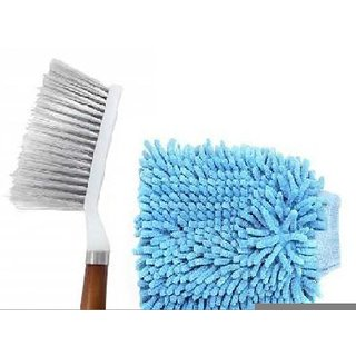 Hard Long Bristles Cleaning Brush With Glossy Microfiber Hand Glove Duster