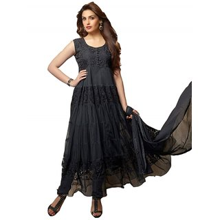 Exciting Deals semi-stitched New Designer Party were Black Colour Anarkali Salwar Suit