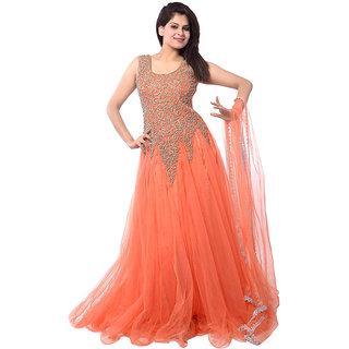 Hidaya Fashion orange colour party wear Suit(fs1030)