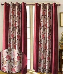 Iliv Cream,Wine Polyester Door Eyelet Stitch Curtain 7 Feet (Combo Of 2)