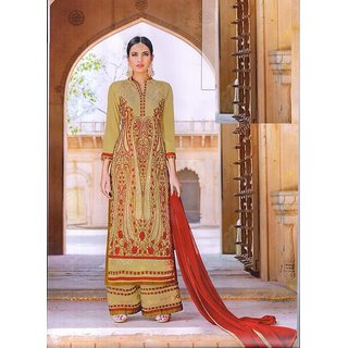 Designer Embroidery Suits with Plazo Embroidery Semi-Stitch Dupatta With Lace (Unstitched)